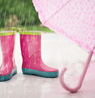 rain, umbrella and wellington boots