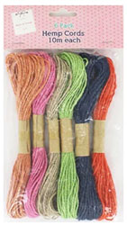 10m Coloured Hemp Cords - 6 Pack