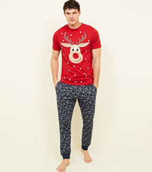 Red and Navy Reindeer Christmas Pyjama Set