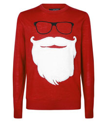 Red Hipster Santa Christmas Jumper