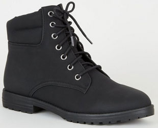 Black Leather-Look Hiker Boots
