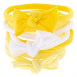 Bow Tie Hair Ties - Yellow, 8 Pack