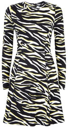 Black Neon Zebra Print Soft Touch Mini Dress
