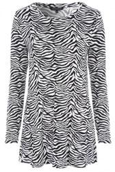 Women's Monochrome Zebra Print Tunic Top