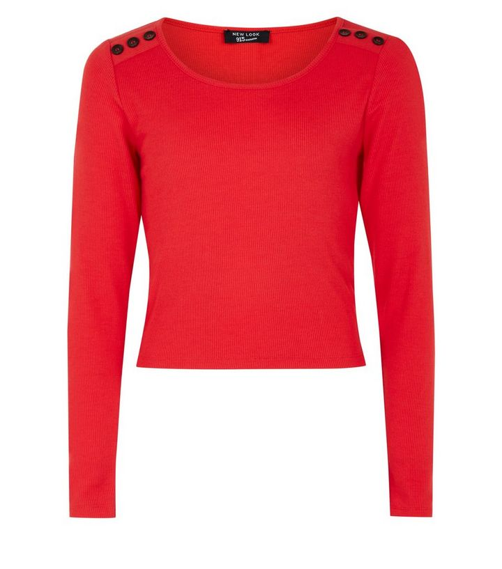Girls Red Ribbed Button Shoulder Top