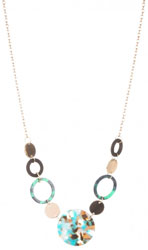Womens Green Resin Disc Necklace