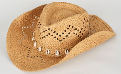 Stone Woven Straw Effect Shell Trim Cowboy Hat