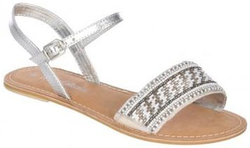 Womens Silver Leather Beaded Sandals