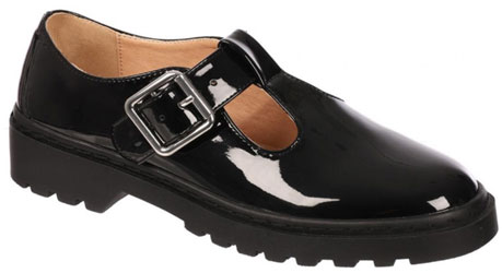 Older Girls Black Patent T-Bar School Shoes
